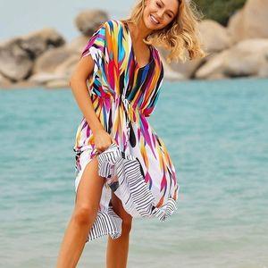 New Rainbow Kaftan Maxi Swim Cover Up Dress